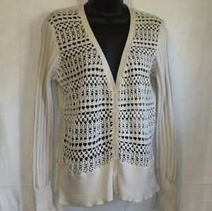 📚 Cynthia Rowley Open Weave Crochet Cardigan